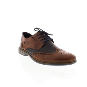 Rieker 13413-25  Brown Navy Leather Wide Brogue Lace Up Shoe