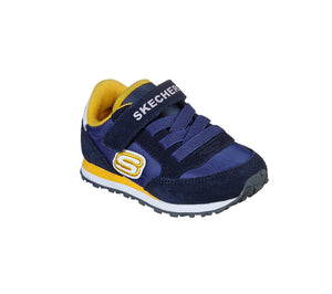 Skechers 97366N Gorvox Boys Navy/Gold Suede Retro Sneakers