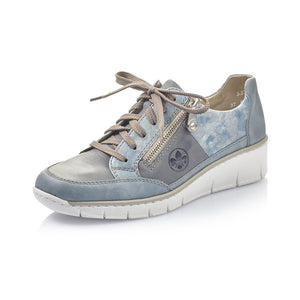 Rieker 53716-12 Blue Leather Lace Up Wedge Trainer Shoes - elevate your sole