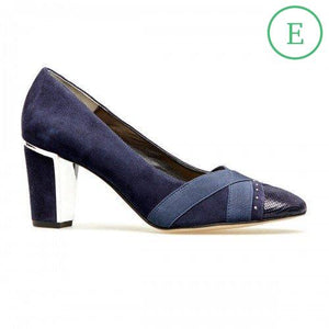 Van Dal Ash Navy Suede & Leather Wide Fitting Court Shoes - elevate your sole