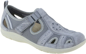 Earth Spirit Cleveland Ladies Frost Grey Touch Fastening Walking Shoes
