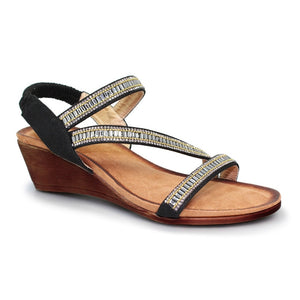 Lunar JLH 073 Sofia Black Ladies Wedge Sandal - elevate your sole