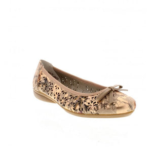Rieker L8356-90 Gold Floral Slip On Ballerina Shoes