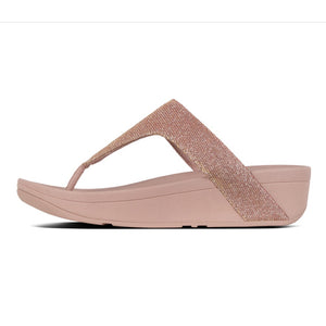 Fitflop R24-323 Lottie Glitzy Ladies Rose Gold Toe Post Wedge Sandals