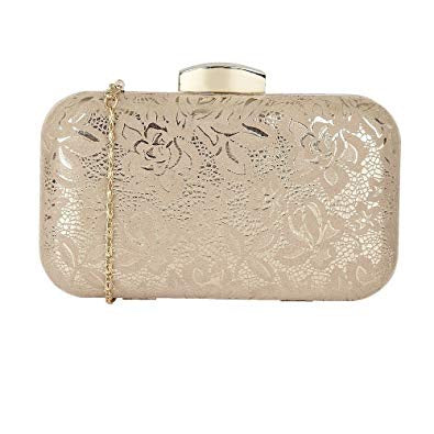 Lotus Puffin Nude Gold Floral Print Clutch Purse Bag