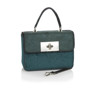 Ruby Shoo Perugia Ladies Green Velvet Print Handbag