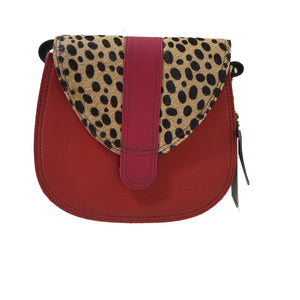 Soruka 047452 Red Pink Cheetah Print Leather Shoulder Bag