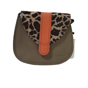 Soruka 047452 Brown Orange Leopard Print Leather Shoulder Bag