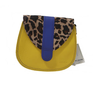 Soruka 047452 Mustard Yellow Leopard Print Leather Shoulder Bag