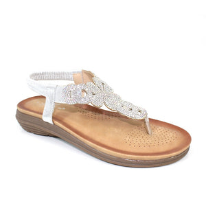 Lunar JLH 045 Edwina Silver Diamonte Ladies Toe Post Sandal - elevate your sole