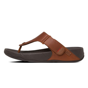 Fitflop 279-277 Track II Mens Dark Tan Leather Toe Post Sandals