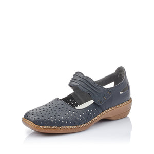 Rieker 41399-14 Ladies Navy Leather Flat Shoes with Touch Fastening
