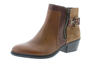 Rieker 75585-24 Ladies Brown Leather Ankle Boots