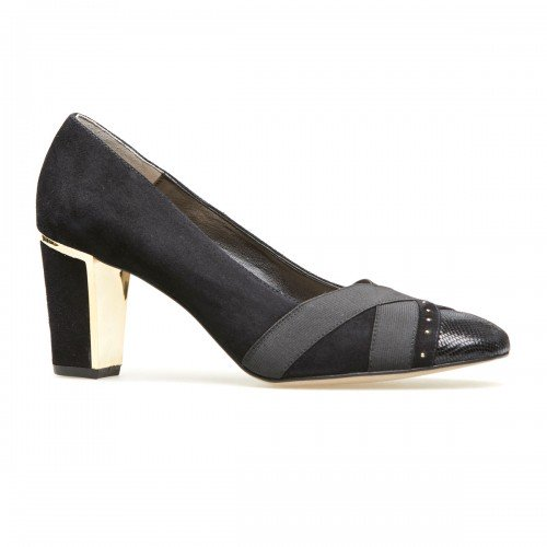Van Dal Ash Black Suede & Leather Wide Fitting Court Shoes