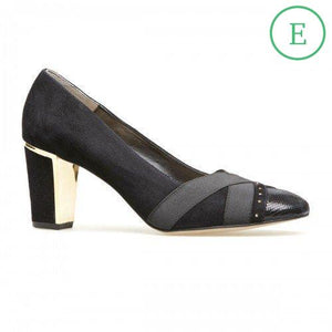 Van Dal Ash Black Suede & Leather Wide Fitting Court Shoes - elevate your sole