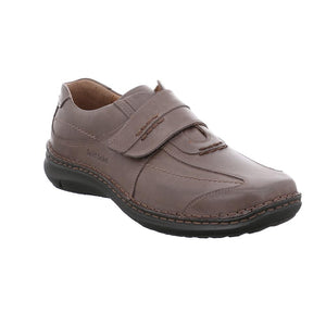 Josef Seibel  Alec Dark Brown Leather Hook and Loop Wide Fitting Shoes - elevate your sole