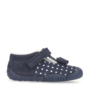 Start-Rite Wiggle 0765-9 Girls Navy Polka Dot Nubuck Shoe