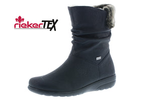 Rieker X0680-00 Black Water Resistant Lined Mid Calf Boots