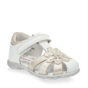 Start-Rite Primrose 5164-4 Girls White And Silver Leather Sandal