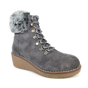 Lunar Windsor GLW001 Ladies Grey Wedge Lace Up Boots