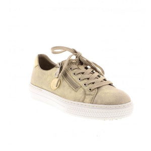 Rieker L59L8-62 Beige Gold Lace Up Trainers - elevate your sole