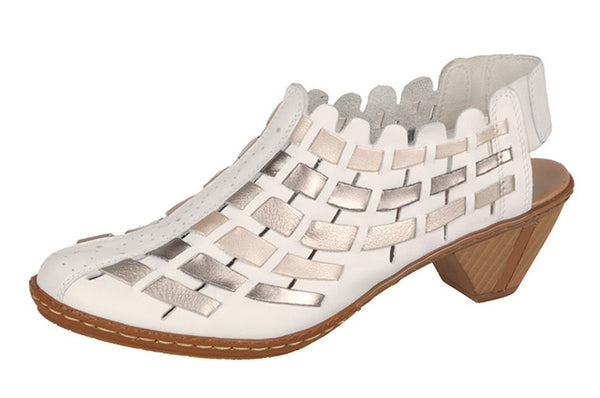 Rieker 46778-81 White Combi Leather Sandals