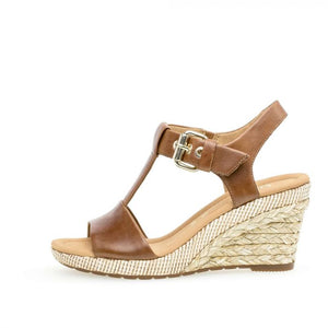 Gabor 22.824.54 Peanut Brown Leather Buckle Strap Wedges