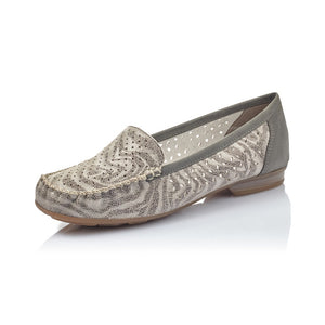 Rieker 40086-42 Ladies Grey Metallic Cut Out Leather Slip on Loafers