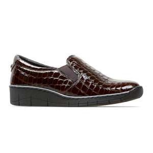 Van Dal Ripple 3017 Ladies 5304 Bordo Croc Print Slip On Shoes E Fit