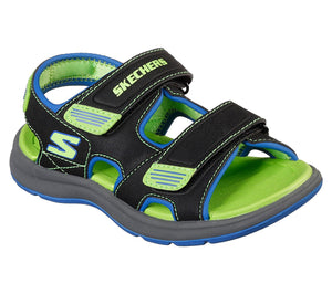 Skechers 97125L Sun Spurt Boys Black/Lime Sandals - elevate your sole