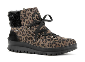 Alpina Loara H 0L61-1 Muffa Nero Leopard Print Lace Up Water Resistant Ankle Walking Boots