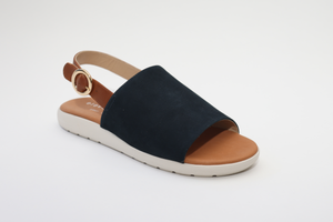 Elevate Your Sole 49132 Caribe Ladies Elba Blue & Cognac Leather Sandals