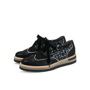 Ruby Shoo Davina Tweed Black Textile Brogue Shoes - elevate your sole