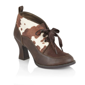 Ruby Shoo Emma Ladies Brown Print Lace Up Shoe Boots