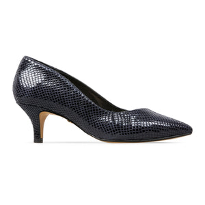 Van Dal Gina 3117 Ladies 4605 Midnight Leather Feature Python Print Kitten Heel Court Shoes E