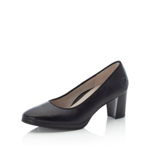 Rieker 49560-00 Ladies Black Leather Court Shoes