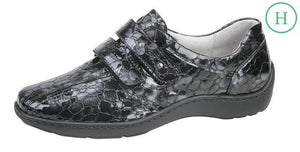 Waldlaufer 496301 Henni Grey Patent Leather Croc Shoes - elevate your sole