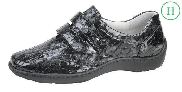 Waldlaufer 496301 Henni Grey Patent Leather Croc Shoes