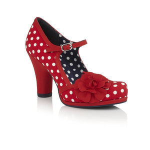 Ruby Shoo Hannah Ladies Red Spots Vegan Court Shoe