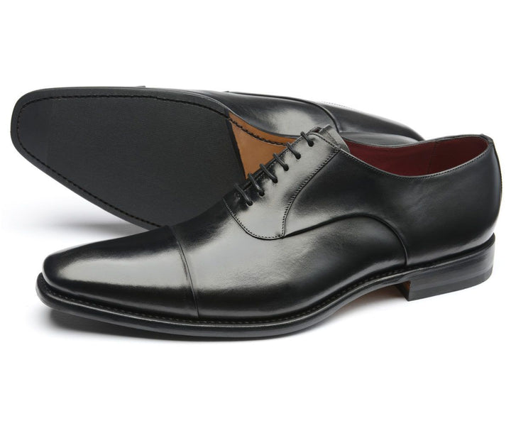 Loake Snyder Black Calf Leather Toe Cap Shoes - elevate your sole