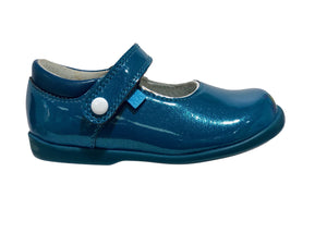 Start-Rite Nancy 1462-2 Blue Leather Patent Rip Tape Fastening Shoe