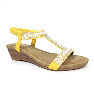 Lunar JLH 136 Ebony Ladies Yellow Wedge Sandal