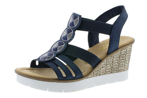 Rieker 65515-14 Ladies Navy Wedge Sandals - elevate your sole