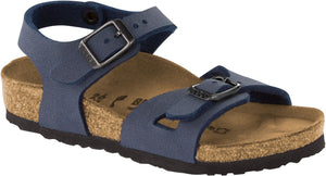 Birkenstock Rio Kids Birkoflor Navy Nubuck Double Buckle Sandals