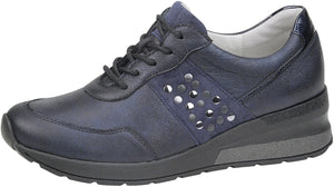 Waldlaufer 939004 H Clara Ladies Deep Blue Metallic Leather Lace Up Shoe - elevate your sole