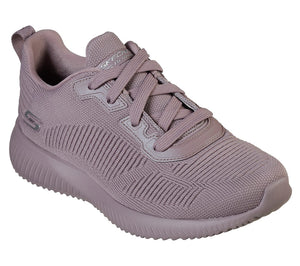 Skechers 32504 Bobs Squad Tough Talk Mauve Lace Up Trainers - elevate your sole