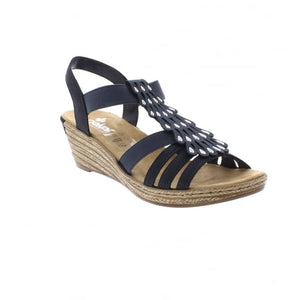 Rieker 62436-14 Navy Blue Elasticated Wedge Sandals