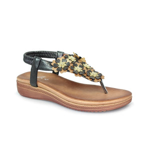 Lunar JLH 065 Sirena Black Ladies Toe Post Sandal