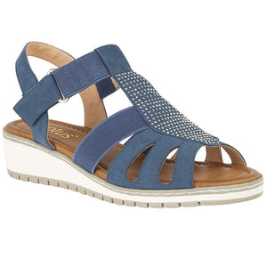 Lotus Rene Denim Blue Elasticated Strap Ladies Sandal