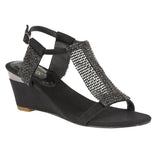 Lotus Claudia Chainmail Diamante Black Wedge Sandals - elevate your sole